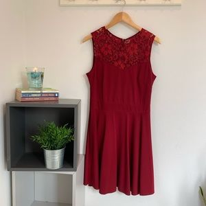 Dresses & Skirts - Red Lace Skater Dress | Heloise Fashion